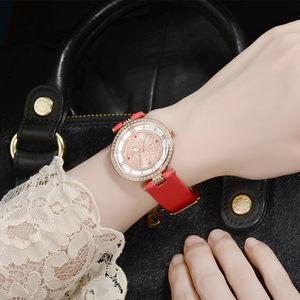 韩国时尚女表防水钻手表女红色皮带超薄镶钻韩版女士手表石英表