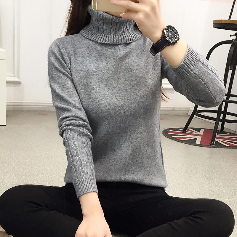 Новинка зимний осеннний корейский тонкий высокий воротник волосы одежда свитер женщины пальто с длинными рукавами глава витой свитер