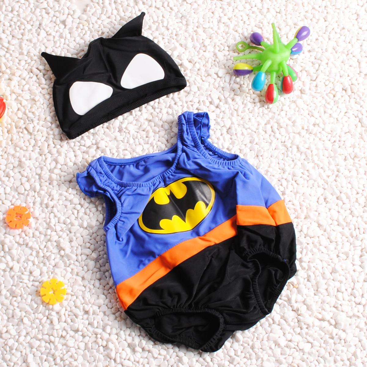 儿童泳衣男童可爱0-3岁小宝宝连体速干1卡通蝙蝠侠2岁