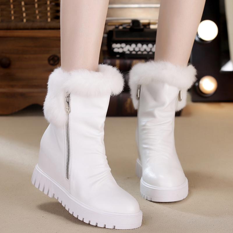 2015冬季高帮纯白色雪地靴兔毛短靴内增高保暖加绒女鞋厚底松糕棉