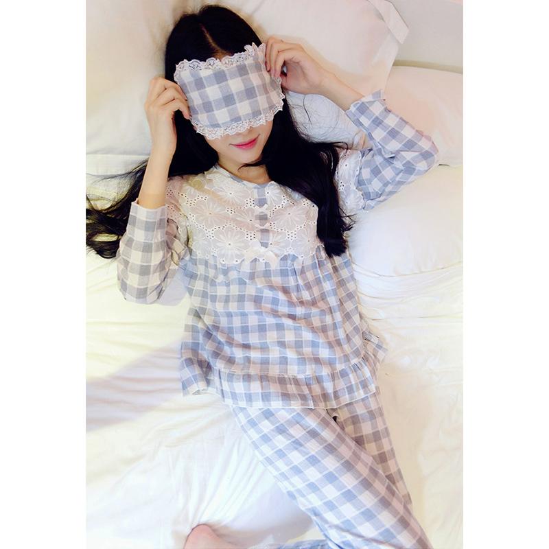 睡衣女秋季长袖棉绸两件套装女士春秋绵绸薄款人造棉家居服大码