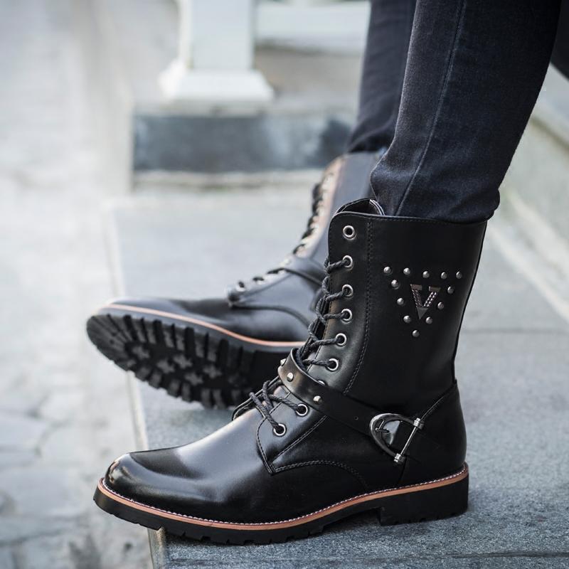 男靴子韩版潮流短靴冬季个性英伦男士保暖棉加绒男鞋真皮马丁靴