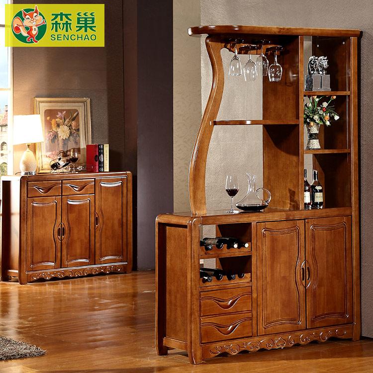 新中式实木酒柜间厅柜 现代简约橡木红酒柜 仿古玄关间隔断柜家具