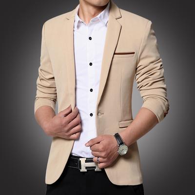 2018 mùa xuân người đàn ông mới của thanh niên triều của nam giới kinh doanh bình thường phù hợp với áo khoác nhỏ tây trang trí cơ thể Hàn Quốc phiên bản của Tây duy nhất Suit phù hợp