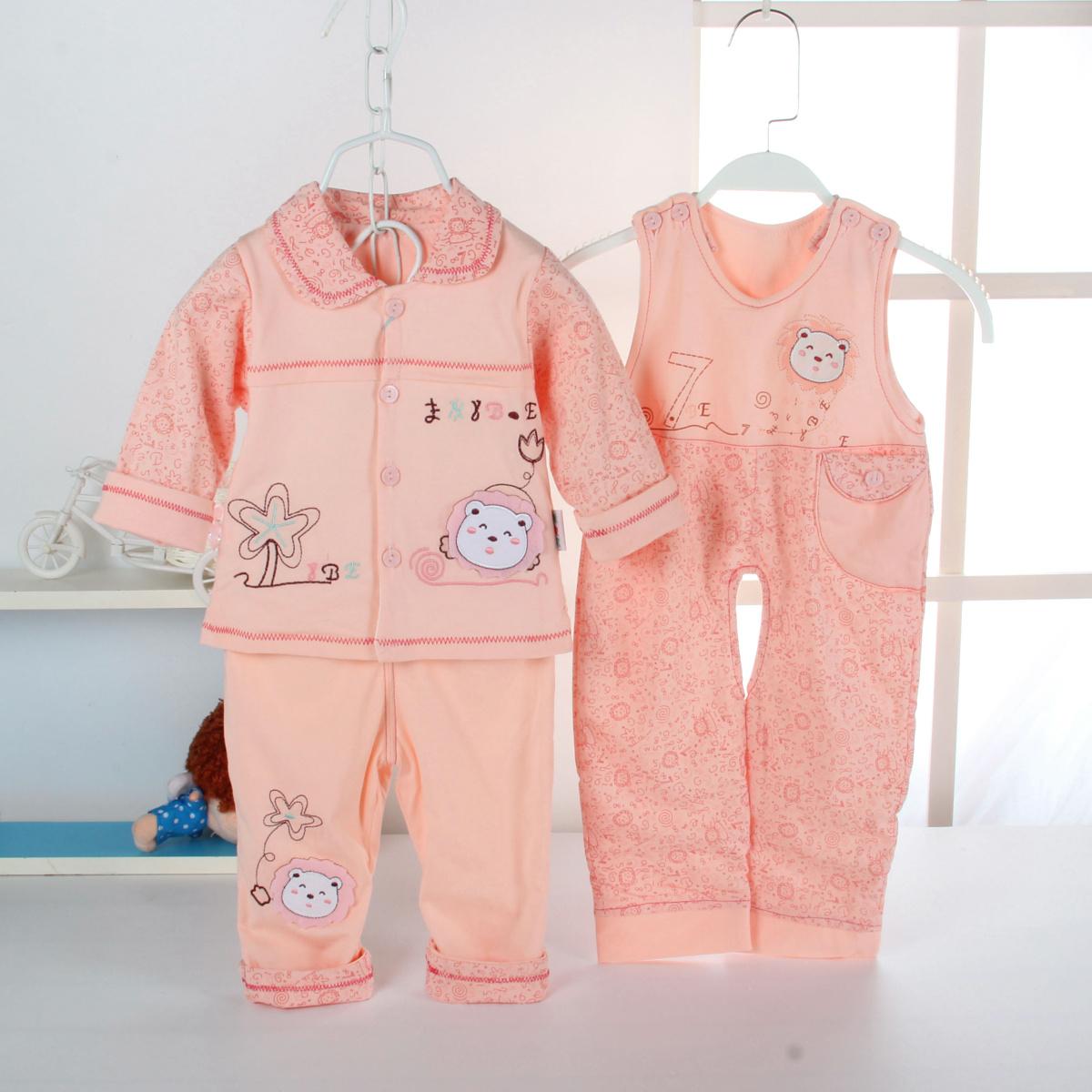 婴儿童纯棉内衣套装连体衣哈衣加厚保暖长袖背带裤男女宝宝秋冬装
