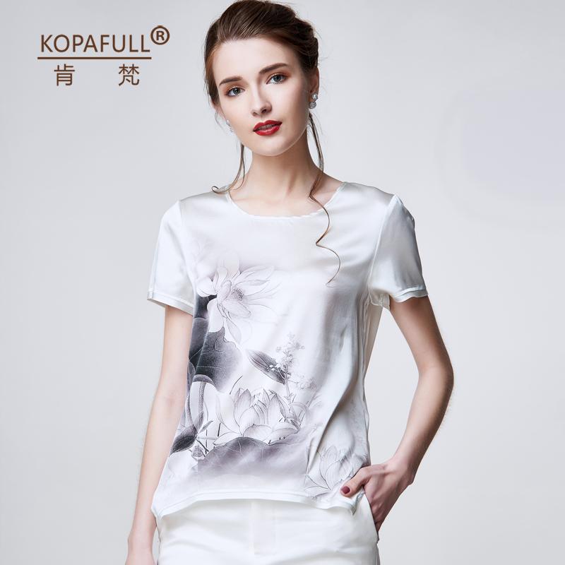 肯梵重磅真丝上衣女短袖2016夏装气质大码印花桑蚕丝条纹t恤衫女