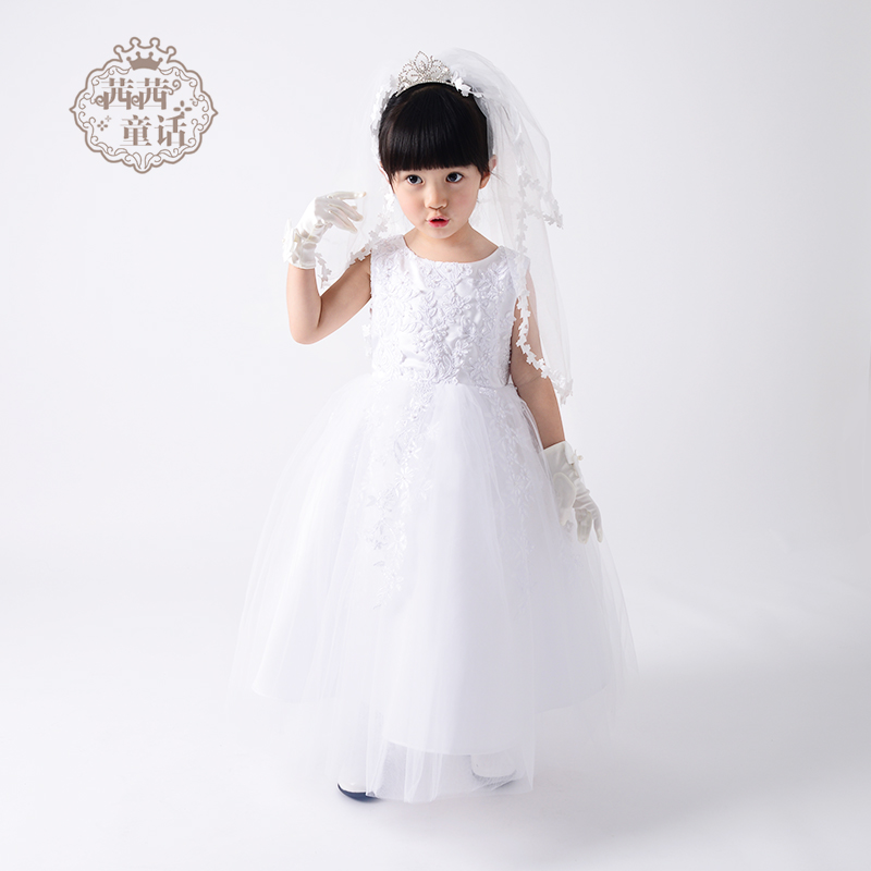 012aa914adc Cissy fairy tale children s dress flower girl dress girl snow white skirt  long paragraph small wedding dress evening dress female autumn and winter