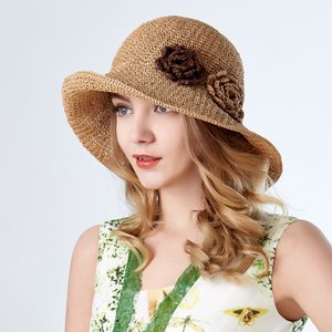 帽子女夏天韩版花朵海边度假沙滩帽遮阳帽出游折叠太阳帽百搭草帽