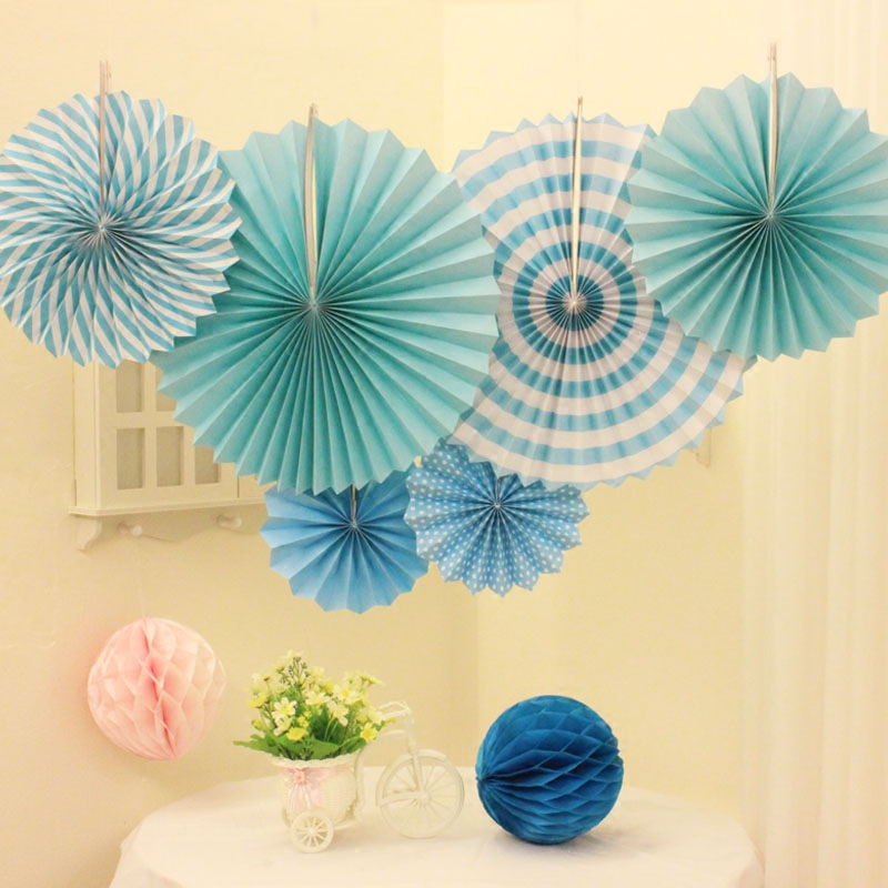 Birthday party decoration paper fan set children adult birthday ...