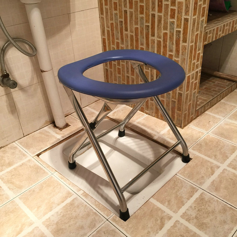 USD 44.32] Stainless steel folding squat stool mobile toilet seat ...
