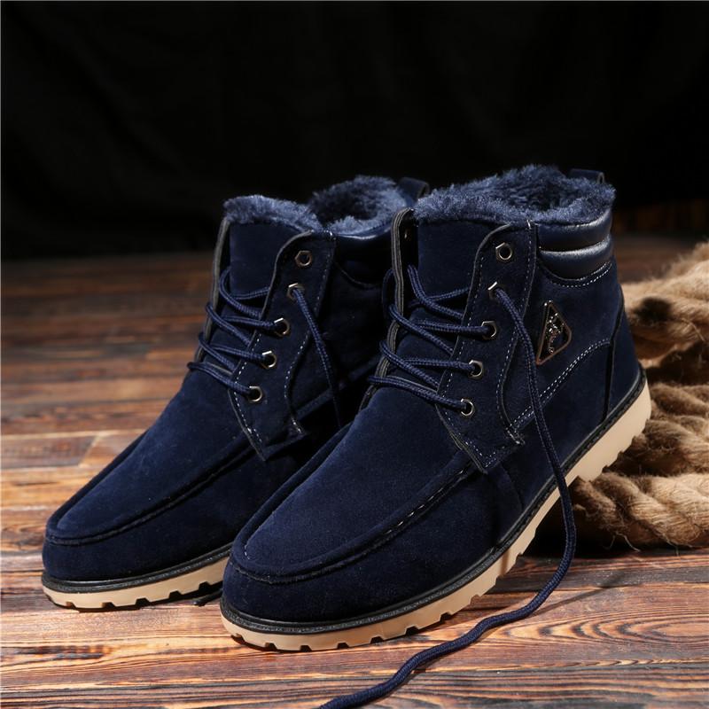 冬季男士雪地靴 短筒马丁男靴子韩版潮男加绒棉鞋保暖高帮情侣靴