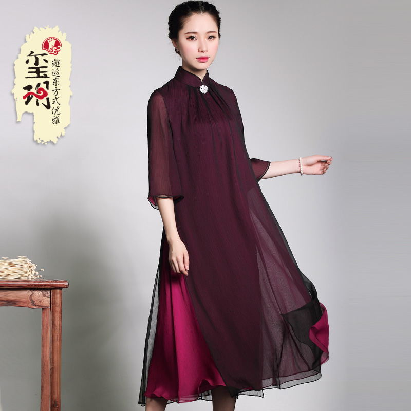 2019 autumn mother loaded cheongsam Chinese dress elegant loose summer  sleeves large middle-aged skirt d712695704f5