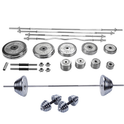Electroplating barbell set home fitness weight lifting equipment small hole bell piece curved bar dumbbell barbell dual-use combo set