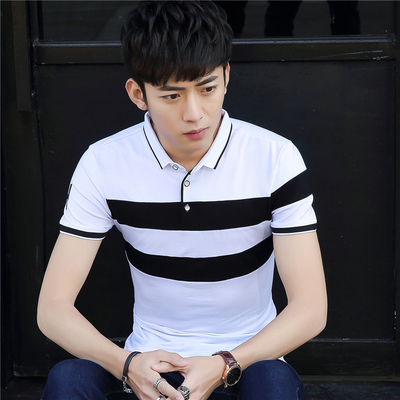 Summer boys cotton short-sleeved t-shirt men's trend Slim collar shirt teen casual lapel Polo shirt