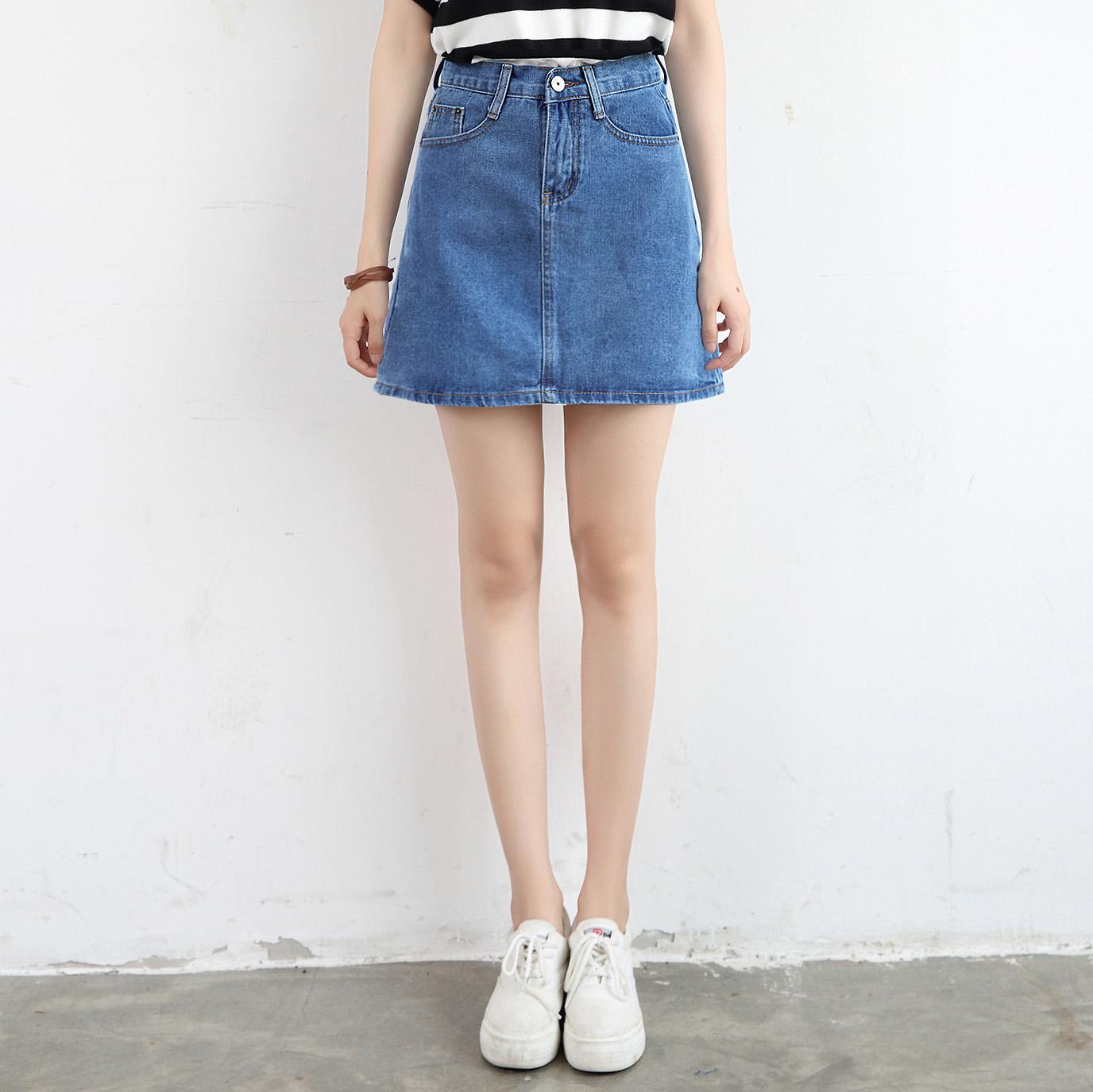 Hàn Quốc phiên bản của retro một từ denim váy màu xanh đậm cao eo là gói mỏng hip denim váy chiếc ô mới váy một từ váy nữ
