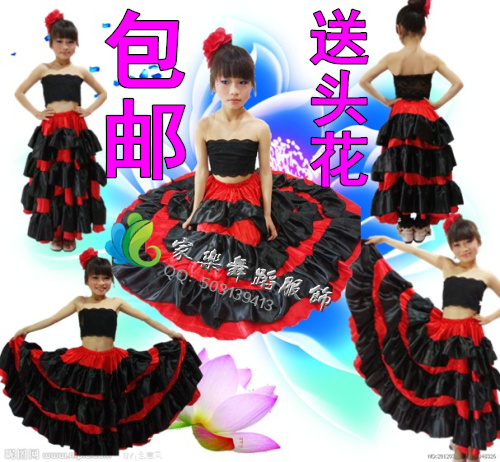 Promotion Children's Costumes Costumes Costumes Spain Bullfight Dance Large Swing Dress Opening Dance Skirt Stage Costume