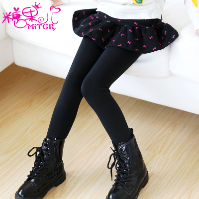 Children's clothing girls fake two leggings spring and autumn models thicker skirt pants Children's large pants stretch long pants