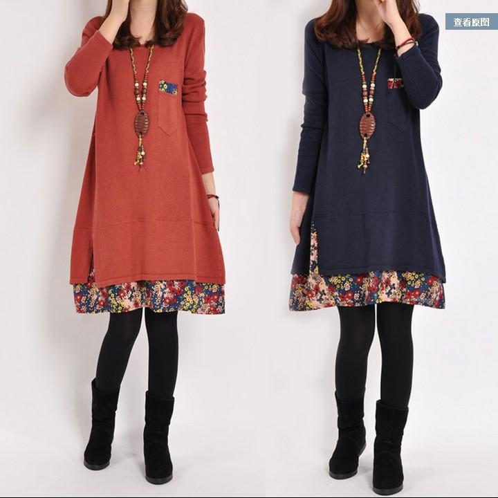 韩国秋冬中长款加厚保暖宽松上衣 大码衣服长袖打底衫胖mm女款T恤