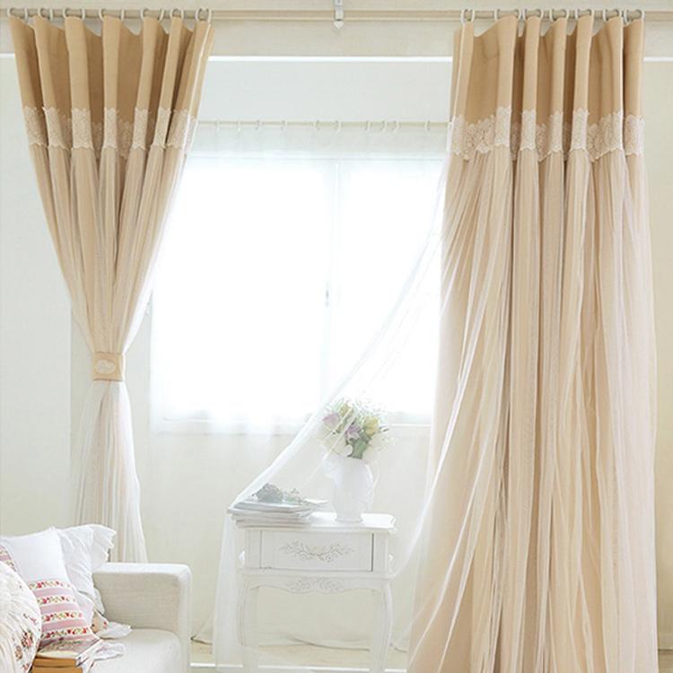 韩式蕾丝窗帘成品特价清新卧室落地飘窗帘定制纯色全遮光物理隔热