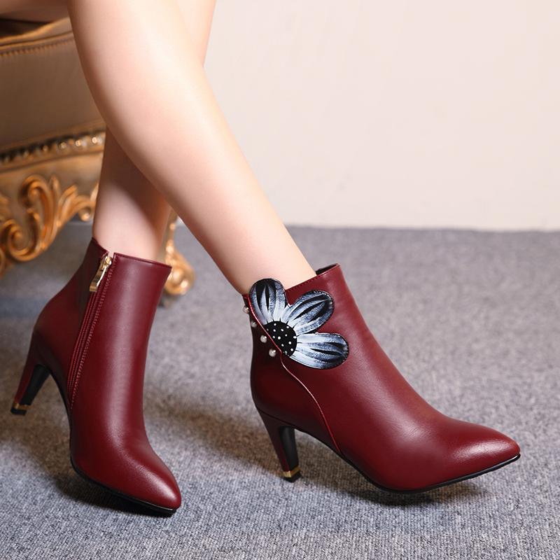 哈森耐克天美意皇妹骆驼2015秋冬季新品短靴尖头新款短筒女靴子