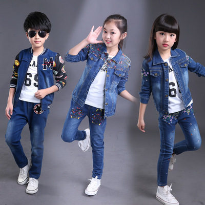 Korean version of the children's clothing in the boys and girls jeans plus pants fashion set of 2 sets of students Spring and Autumn 110-160