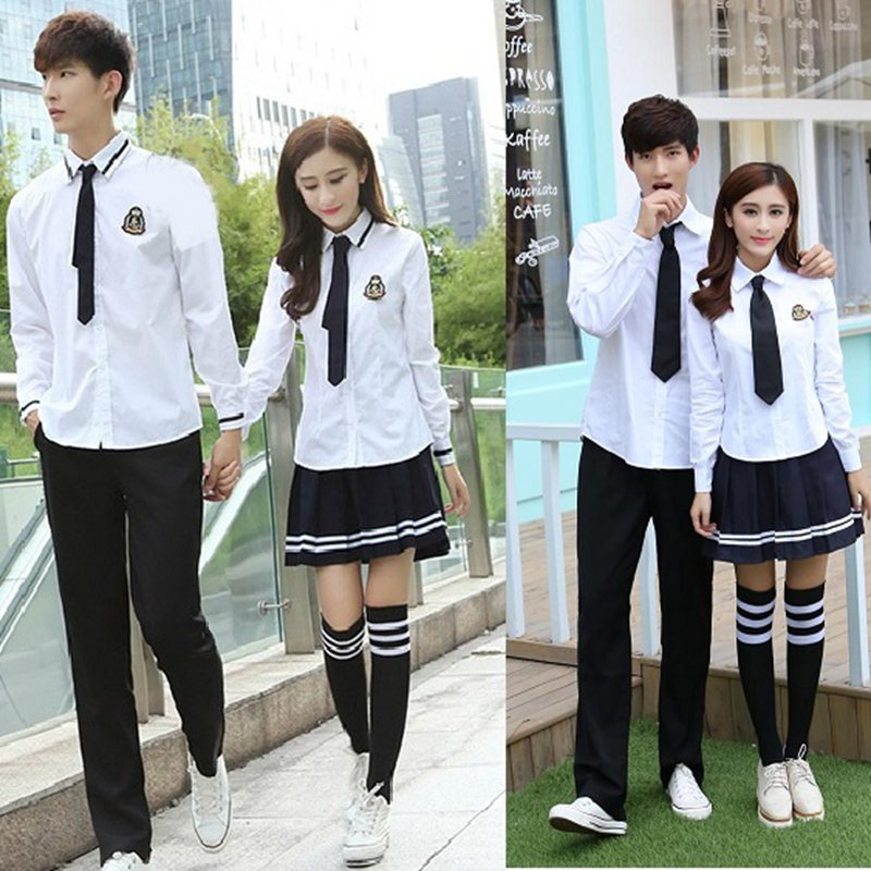 07f37d30428 Student school uniform suit summer white shirt men and women ...