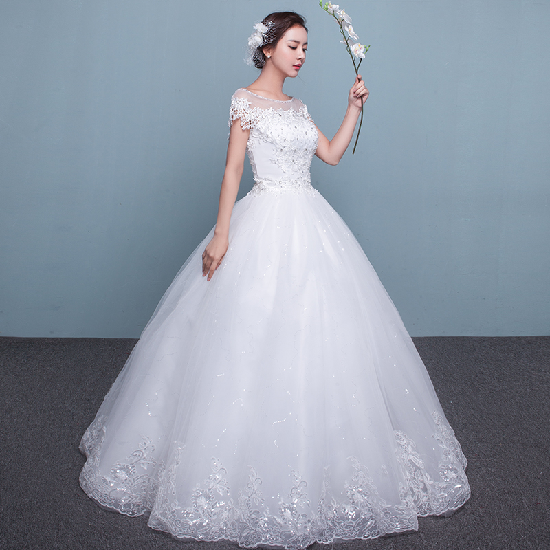 Wedding dress 2017 new winter bride Princess one word shoulder to big size thin pregnant woman wedding gown long tail