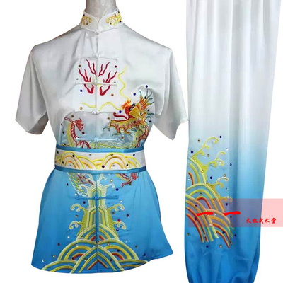 Martial Arts Clothes  Kungfu clothes Short-sleeved Wushu Clothes Embroidery Dragon Children Gradual Color Change Adult Performance Gongfu Clothes Nanquan Changquan Men and Women Competition Color Clothes
