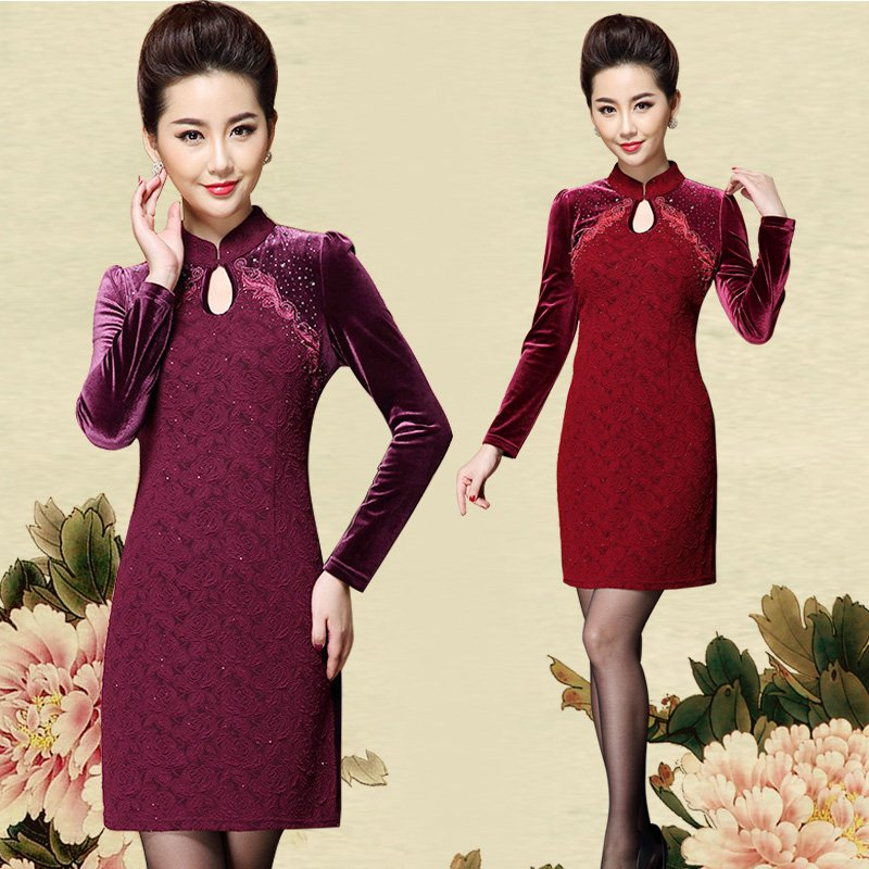 中老年女装春装妈妈装旗袍立领薄毛衣本命年红色羊毛衫加大码上衣