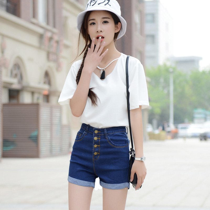 Mùa hè mới cao eo quần short denim nữ sinh viên mùa hè Hàn Quốc phiên bản của căng là siêu mỏng quần short nữ mùa hè quần nóng quần