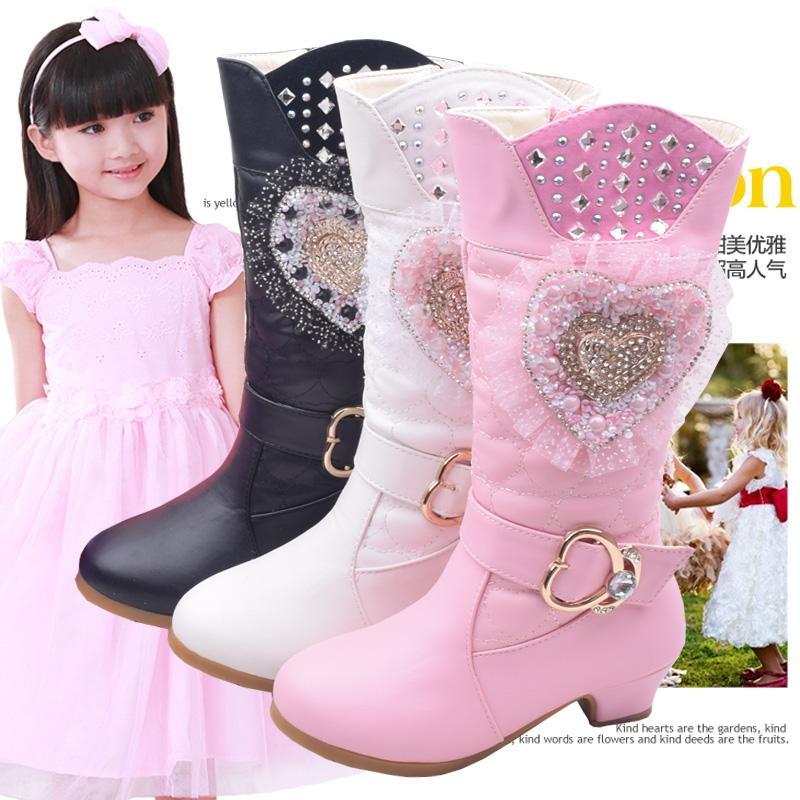 2015冬季童靴韩版蝴蝶流苏坠真皮女童过膝靴子儿童高筒靴公主靴子