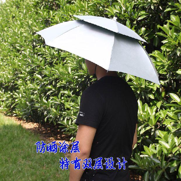 828146721f492 UV Sunscreen large folding head wearing a fishing umbrella hat outdoor  fishing double sunshade umbrella