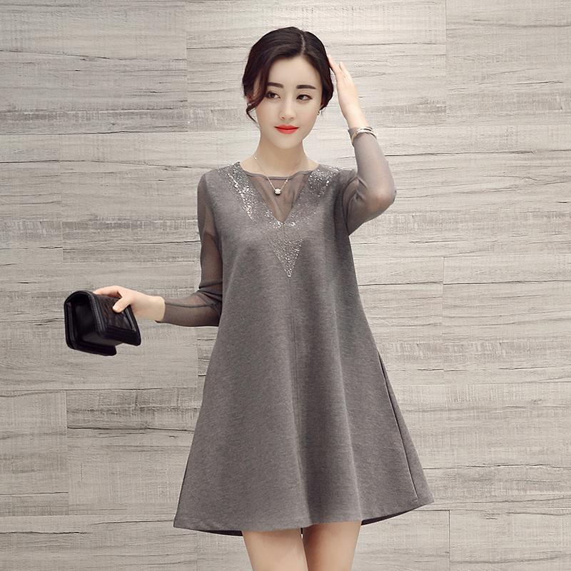 春装新款女装2016韩版长袖修身a字型蕾丝连衣裙高腰裙显瘦中长款