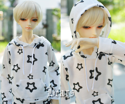 taobao agent ◆Bears◆BJD baby clothes A097 white background black star pullover hooded T-shirt 1/4&1/3&Uncle
