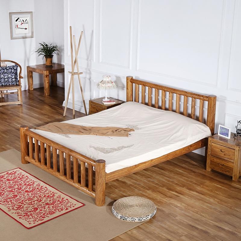 老榆木双人床全实木圆柱床原木厚重款现代中式卧室家具1.8米*2米