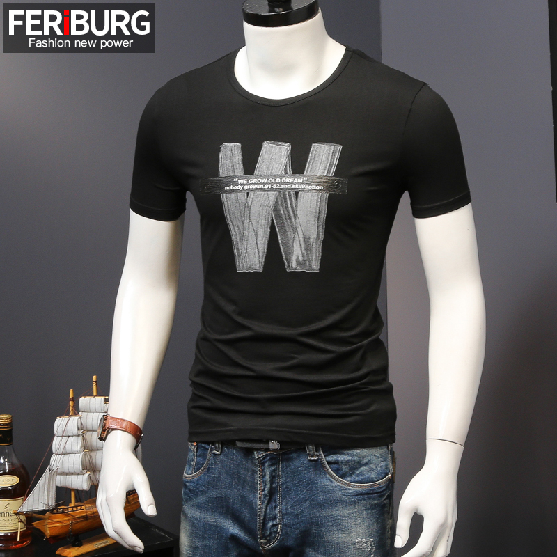 Summer New Black Short Sleeved Men S T Shirt W Letter Printing Simple Youth Half