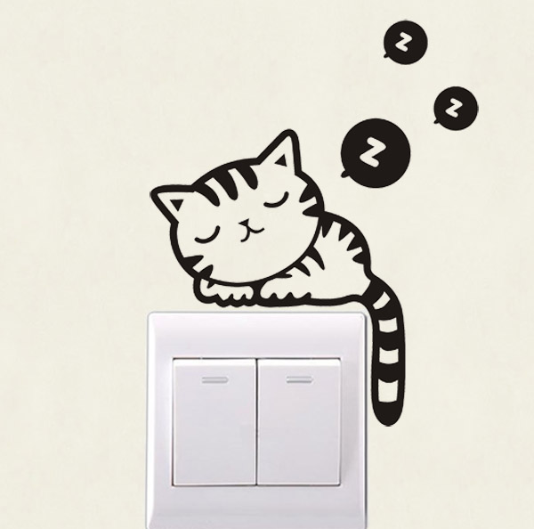 Usd 414 Kitten Diy Light Switch Stickers Wall Stickers European - Vinyl-decals-to-decorate-light-switches-and-outlets
