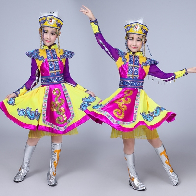 Children's Mongolian dance performance costumes, ethnic costume, Mongolian robe girls, short skirts, chopsticks dance