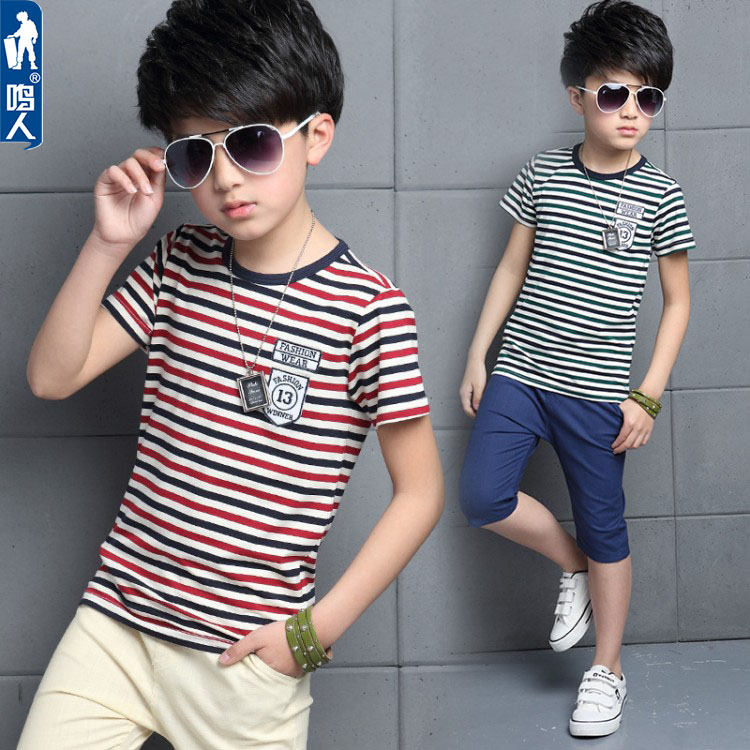 46955138b7f Children s short-sleeved T-shirt summer 2019 new Korean version of the  children s clothing striped shirt shirt in large children s clothing tide