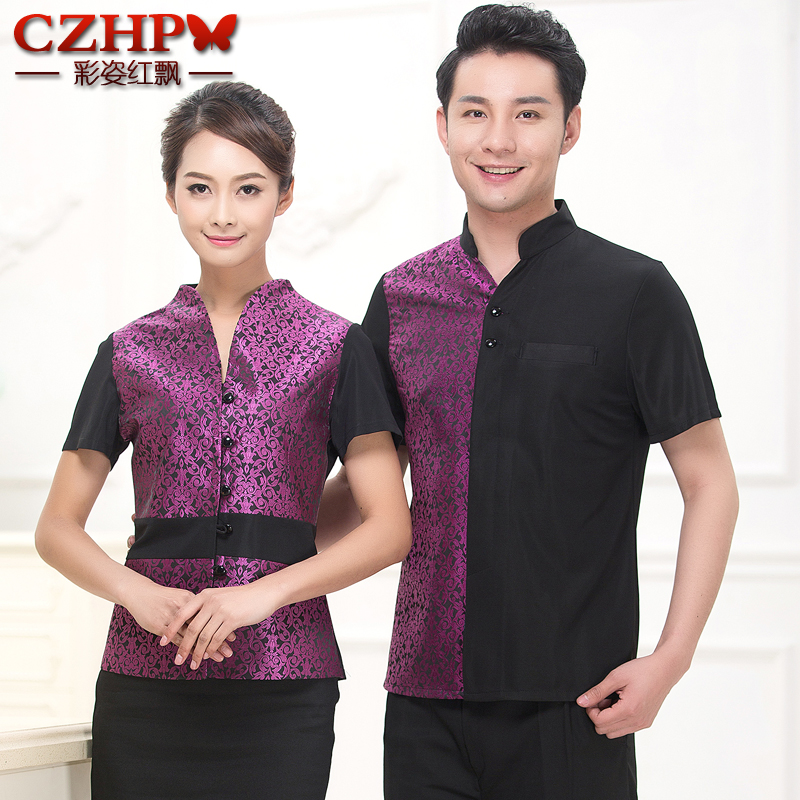 Hotel work clothes summer female coffee restaurant fast food restaurant uniforms catering hot pot shop waiter short-sleeved new