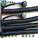Plug spring wire and cable national standard plug spiral telescopic cable stretched 3 meters 3*1.5 square black