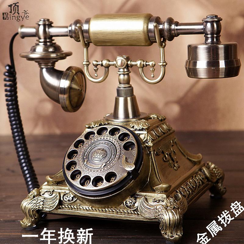 顶爷家用创意仿古电话机复古欧式时尚旋转电话机电话田园v家用座机
