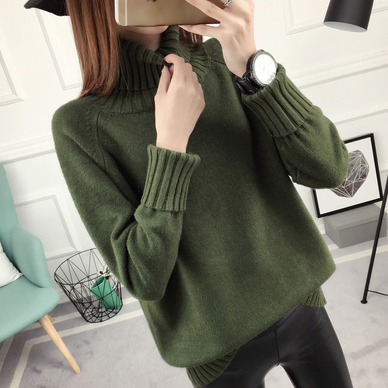 Autumn and Winter new loose high collar pullover women s autumn and winter  models bottoming shirt Korean f05bebee4