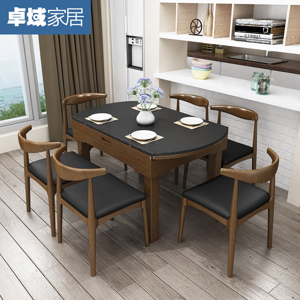 USD Simple Modern Marble Table Fire Stone Dining Table - Wood and stone dining table