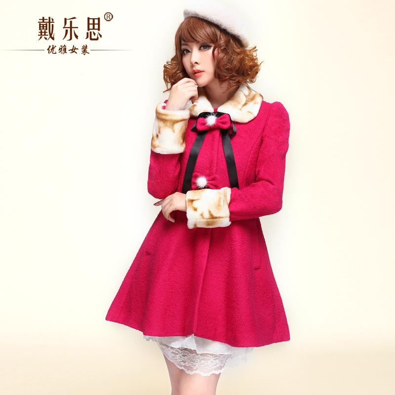 毛呢外套女2015冬季新款韩版中长款夹棉加厚大码貂毛领羊毛呢大衣