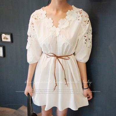 冬忆家2016韩国SZE 复古气质显瘦修身蕾丝连衣裙 7分袖打底裙子