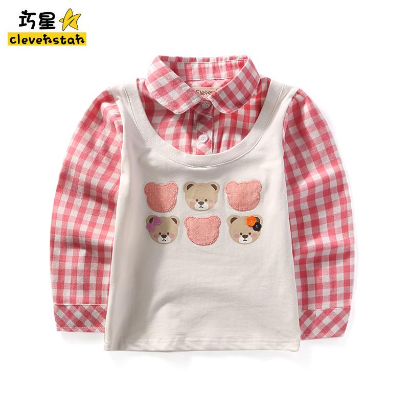 衬衫打底假两件衬衣宝宝T恤新款翻领童装上衣衫长袖格子女童格子