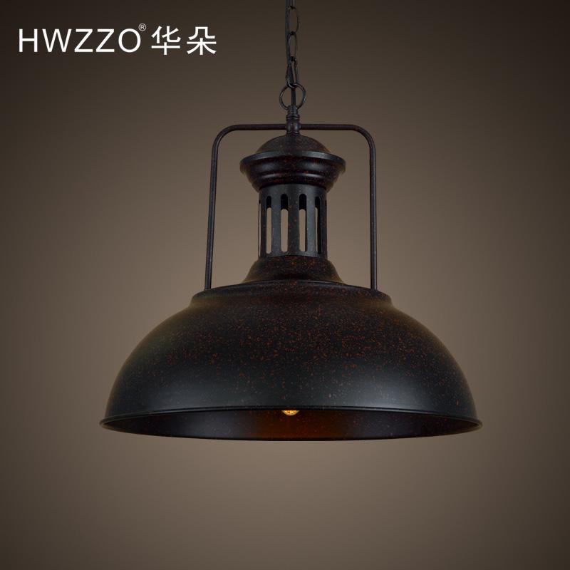 Loft复古怀旧创意餐厅单头铁艺灯罩吊灯美式工业风格吧台办公室