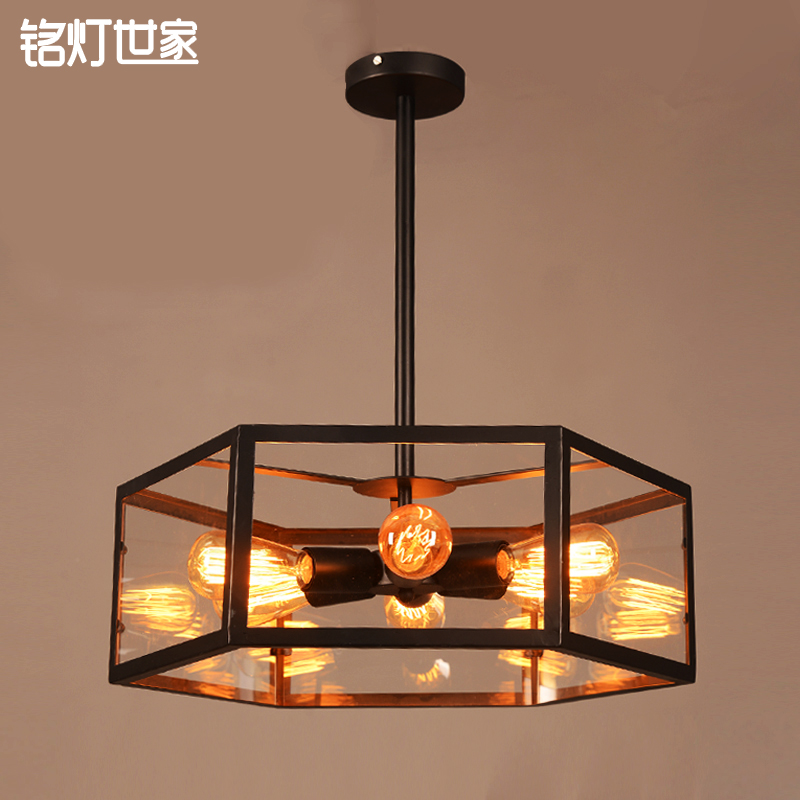 美式乡村极简客厅餐厅大堂吸顶灯 温馨卧室书房创意菱形玻璃罩灯