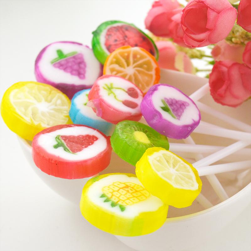 爱伊佳创意水果切片棒棒糖10g韩国手工硬帖零食结婚喜糖包邮